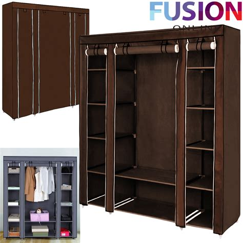 Double Fabric Canvas Clothes Wardrobe With Hanging Rail