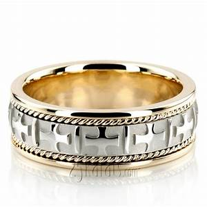 two tone cross religious wedding band hm036 14k gold With religious wedding rings
