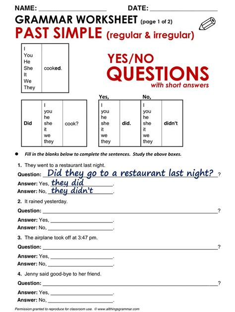 grammar yes no questions past simple www