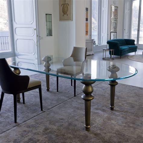 high  italian oval glass dining table