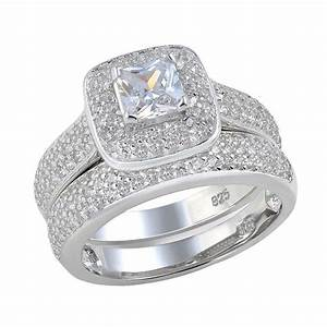princess cut aaa cz halo setting 925 sterling silver With classic wedding ring sets