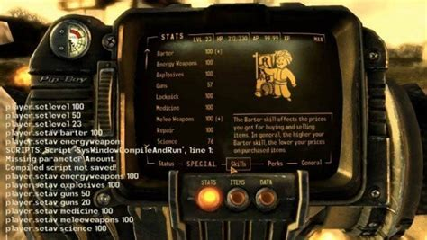 fallout console commands pc save ps4 vegas level cheat special mode god games stats skills mess warning know need keep