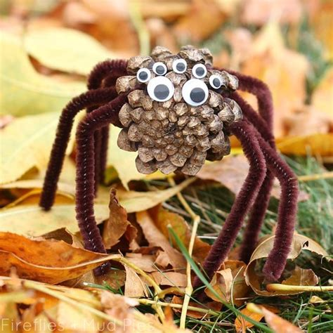pinecone craft pinecone spiders a halloween nature craft for kids crafts for kids fun crafts and for kids