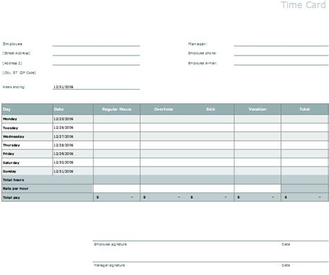 time card template easily organize employees timings