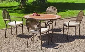Table De Jardin Ronde : salon de jardin table ronde et fauteuils 4 places ~ Teatrodelosmanantiales.com Idées de Décoration