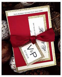 Red wedding invitations red and gold glitter wedding for Red and gold glitter wedding invitations