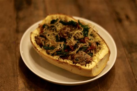 Spaghetti Squash Boats by Guest Spaghetti Squash Boats With Sausage Kale And