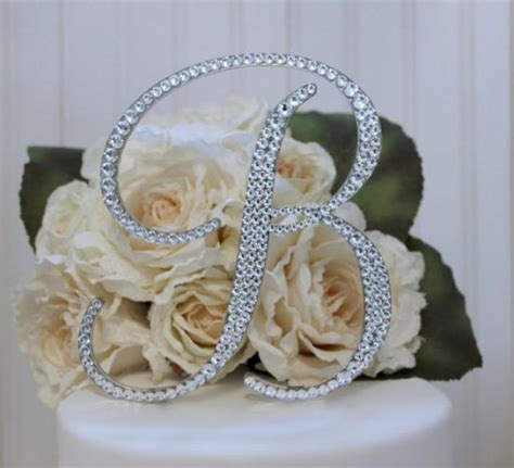 monogram wedding cake topper initial  swarovski crystals   letter