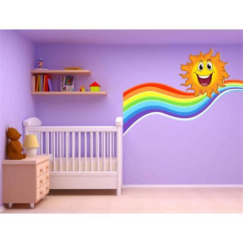 autocollant chambre stickers autocollant chambre d 39 enfant soleil arc en ciel