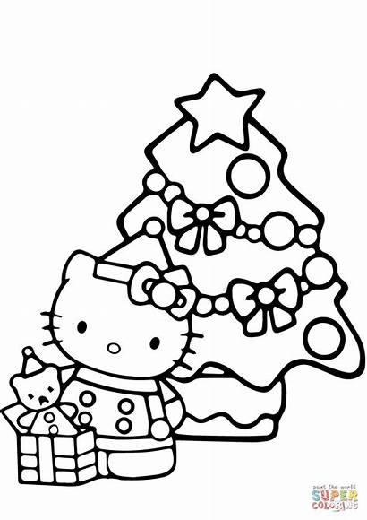 Coloring Pages Tree Xmas Kitty Christmas