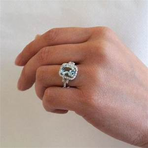 14k white gold 10x8 cushion cut diamond halo three stone for Wedding rings aquamarine