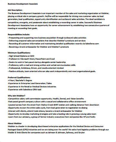 sales associate job description sample  examples
