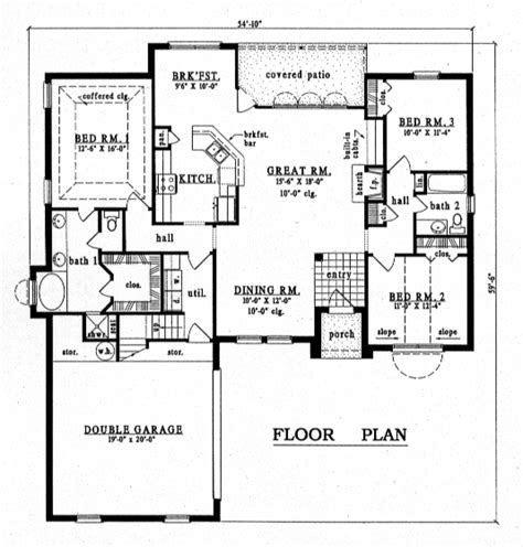 European Style House Plan 79142 with 3 Bed 2 Bath 2 Car