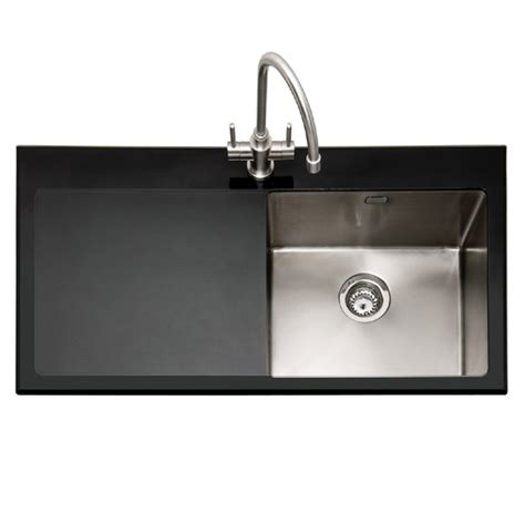 black kitchen faucet caple vitrea 100 bk black glass and stainless steel sink