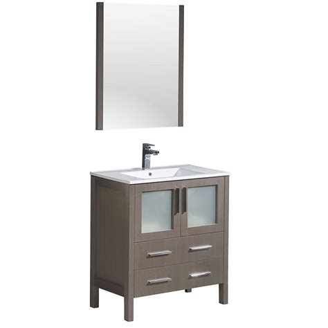 White Vanity With Gray Top by Fresca Torino 30 In Vanity In Gray Oak With Ceramic