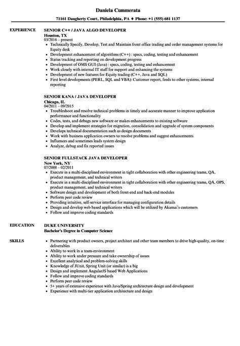 sample resume  experienced mainframe developer