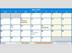 March 2023 UK Calendar with Holidays for printing image