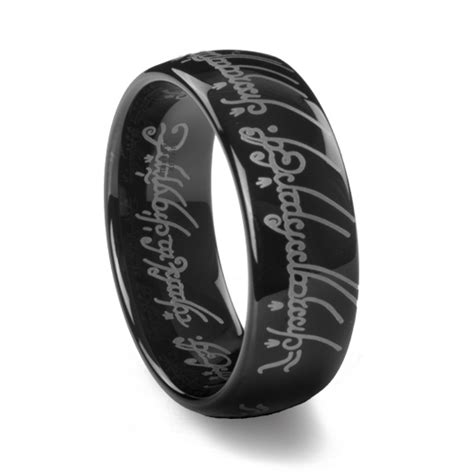 mens cross rings tungsten lord of the rings black tungsten carbide one ring