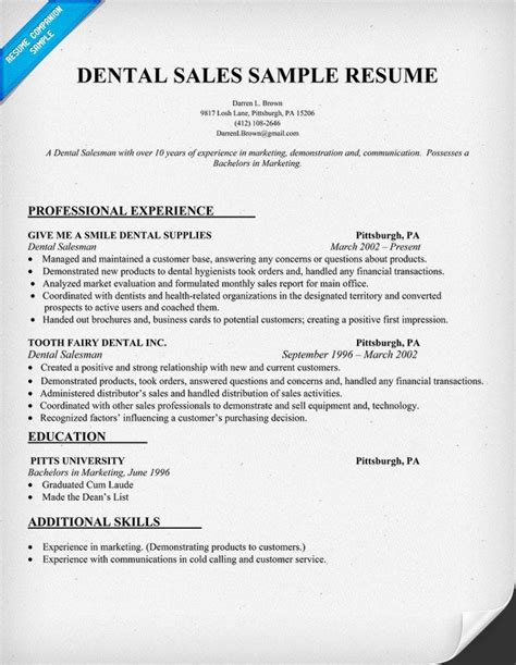 dental sales resume sle dentist health resume