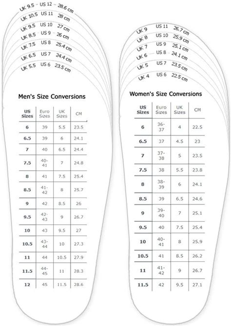 adult shoe size chart sovereign lake nordic centre
