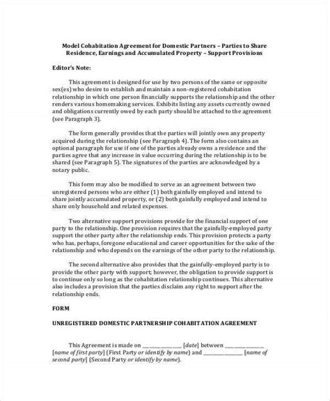 cohabitation agreement template   word  format