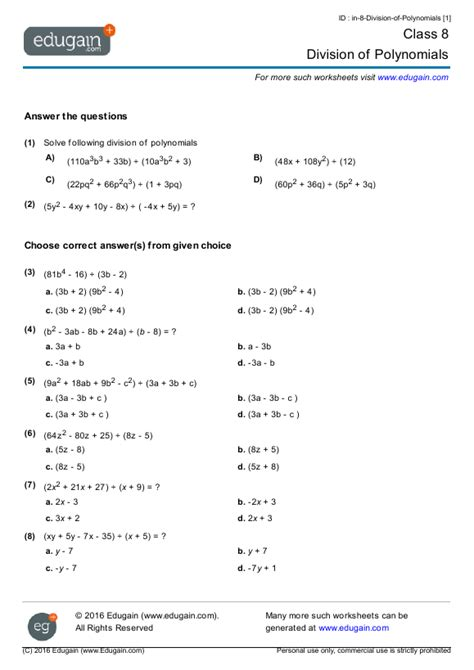 class 8 math worksheets and problems division of polynomials edugain india