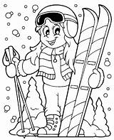 Coloring Skiing Theme Ski Clipart Pages Vector Sheet Winter Skis Snow Illustration Children Cartoon Illustrations Sports Topcoloringpages Woman Helmet Skateboard sketch template