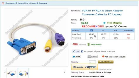 Vga To Tv Rca S Video Adapter Converter Cable For Pc