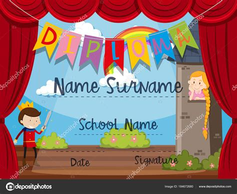 certificate templates with photos certificate template with kids on stage stock vector
