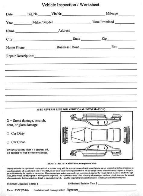bureau inspection automobile vehicle inspection worksheet avw