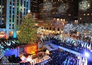 christmas    york rockefeller lights  city