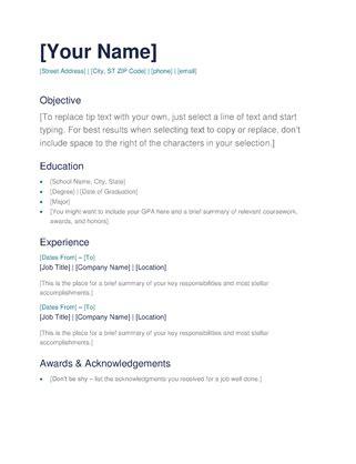 simple resume format  word task list templates
