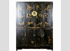 Antique Chinese Large 8 Door Black Cabinet with Painted Scenes