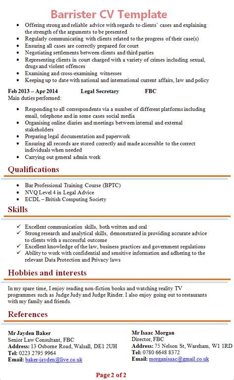 barrister cv template 2
