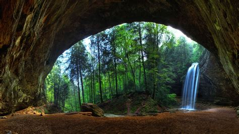 nature, Landscape, Trees, Forest, Waterfall, Cave, Long ...