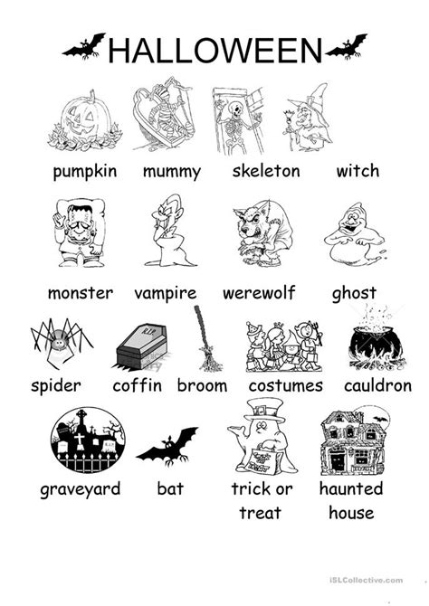halloween vocabulary worksheet free esl printable