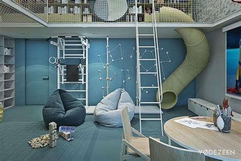toboggan chambre aménagement intérieur maison de luxe adaptée aux enfants