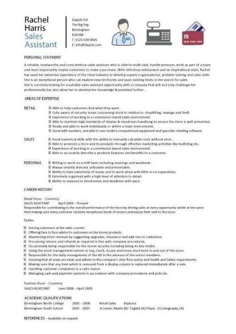 Sle Of A Cv by Sales Assistant Cv Exle Shop Store Resume Retail