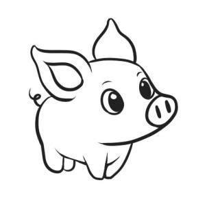 cute small outline pig figure tattoo design tattooimagesbiz