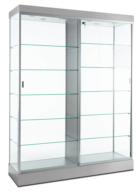 Retail Display Case Silver Finish Hidden Wheels For