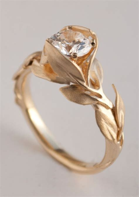 leaves engagement ring no 7 14k gold and diamond engagement ring engagement ring leaf ring