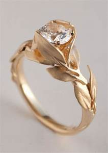 leaves engagement ring no 7 14k gold and diamond With wedding ring no diamond