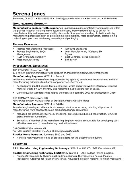 Engineering Resume Professional Summary by Sle Resume For A Midlevel Manufacturing Engineer