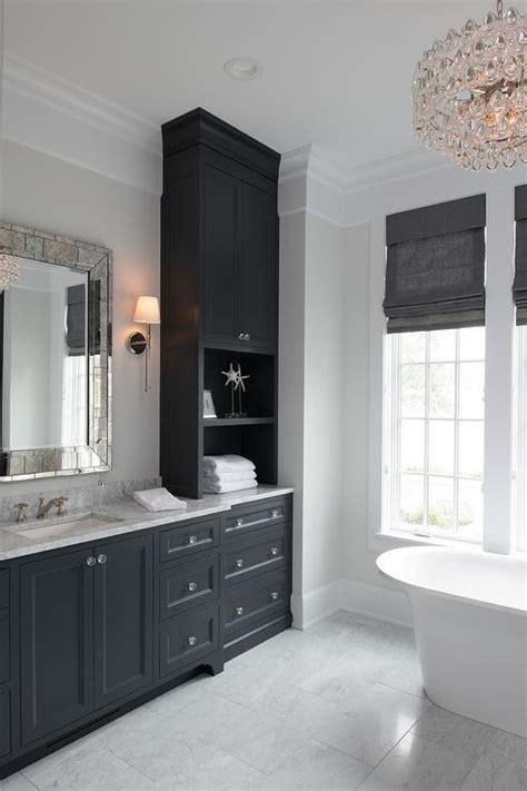 black  white master bathroom  antiqued mirror