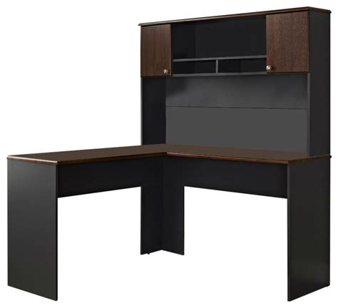 gray desk with hutch l shaped office computer desk with hutch in slate grey and