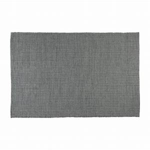 gilmore tapis tisse plat 120x80cm en coton gris fonce With tapis coton tissé
