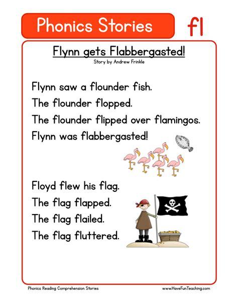 phonics words stories fl reading comprehension worksheet