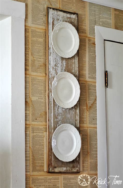 chippy wood  vintage plates wall display knick  time