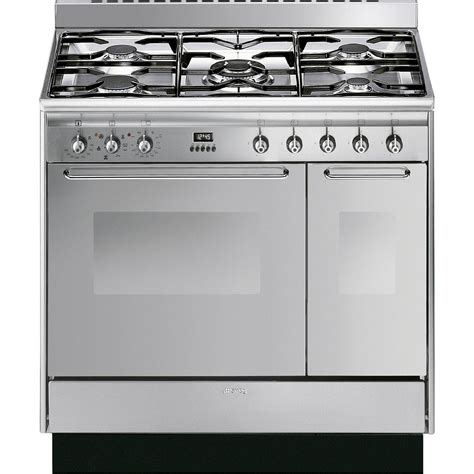 smeg cc92mx9 90cm dual fuel range cooker in stainless steel oven 5 burners