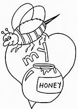 Coloring Bee Honey Colorare Disegni Colorear Valentin Printable Desene Abeja Kleurplaat Printen Colorat Amor Mi Super Miele Coloriage Dibujo Gratis sketch template